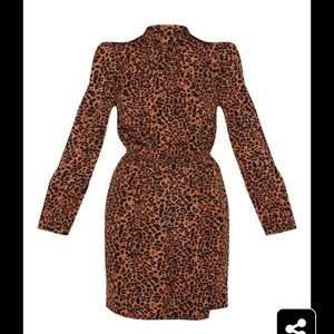 PrettyLittleThing Dresses - NWT PrettyLittleThing orange leopard dress